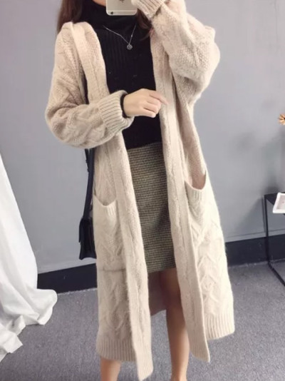 Loose Knitted Sweater Coat Women Thick Cardigans Long Sweater