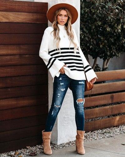 Flare Sleeve Women's Turtleneck Knitwear Black White Striped Sweaters