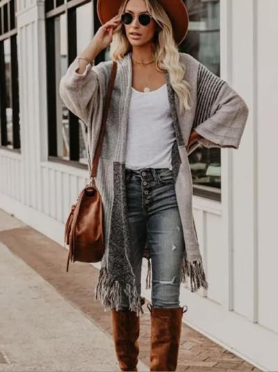 Patchwork Long Coat Female Winter Vintage Knitwear Sweaters Cardigans