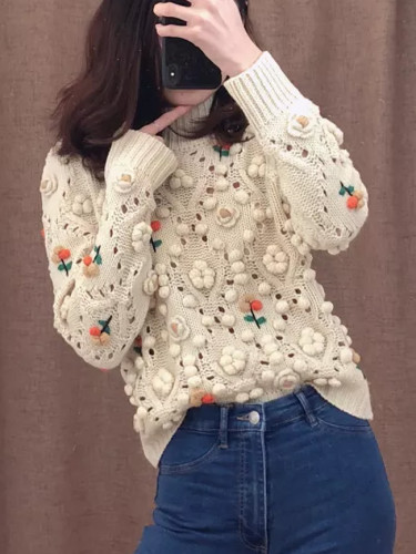 Women Sweater With O-neck Embroidery Knitted Casual Pullover Top