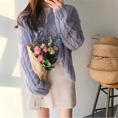 Purple Violet Retro Soft Knitted Gentle Cardigans