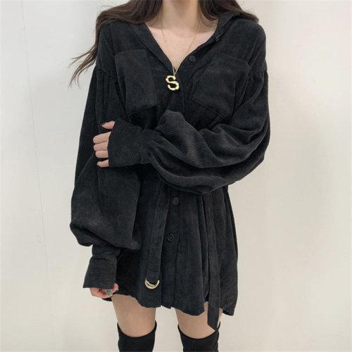 Corduroy winter warm long jacket