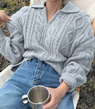 Retro Sweater Pullovers Knitted Casual Solid Autumn Turn-down Collar Feminine Tops