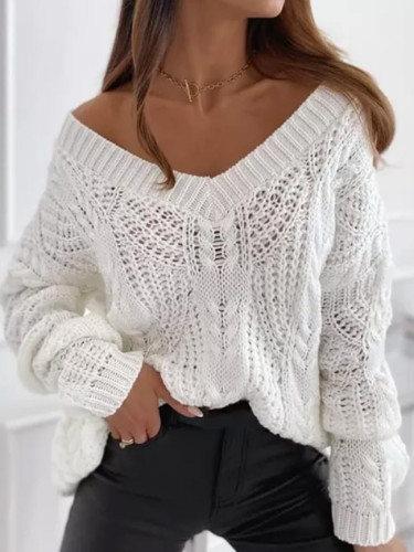 Autumn New Casual Solid V Neck Winter Vintage Knitted Sweater