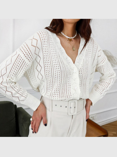Lace hook flower V-neck pearl button knitted cardigan coat Casual sweater