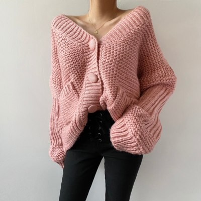 Knitted Sweater V-neck Knit Cardigan Female Fashion Coat
