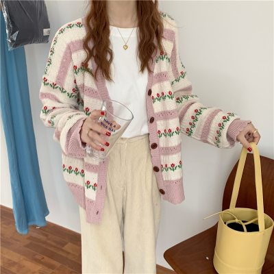 Vintage Floral Single-breasted Knitted Cardigan Sweater Coat Women