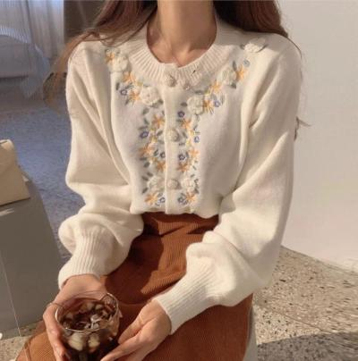 Knitted Cardigan Sweater Vintage Embroidery Flower Fashion Bead Button Sweaters
