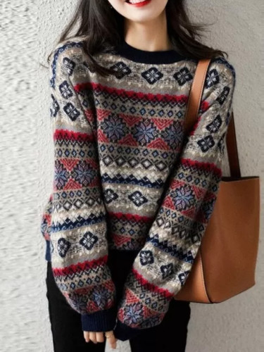 Christmas Sweater Women's Autumn And Winter New Pullover Round Neck Sweater Women