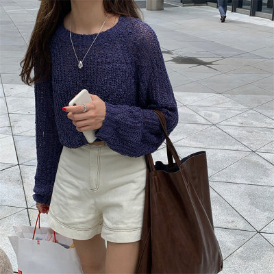 Raglan-sleeve Retro Autumn Jumper Sweaters Loose Knitted Casual