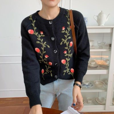 Fashion Female Sweater Floral Embroidery Casual O-Neck Long Sleeves Cardigans