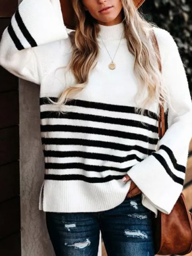 Flare Sleeve Women's Turtleneck Knitwear Black White Striped Sweaters