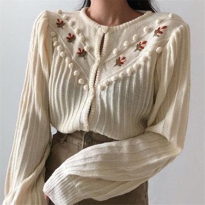 Beige Sweet Gentle Hook Floral Lantern-Sleeved Girls Knitted Cardigans Sweaters