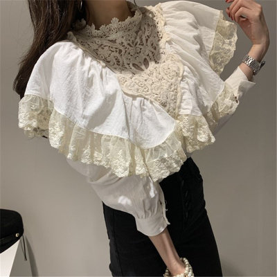 Cotton Linen Loose Women Patchwork Lace  Casual Basic Shirts