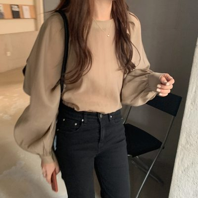 Autumn Blouse O-neck Puff Sleeve Full-Sleeved Simple Loose Solid Shirts