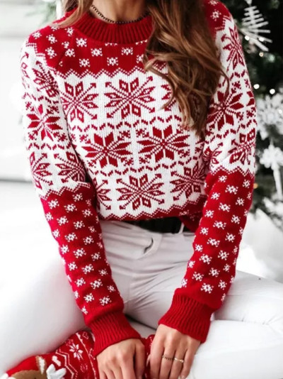 Fashion Women Christmas Sweaters Casual Long Sleeve O-neck Print Knitted