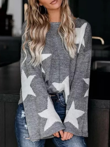 Flare Sleeve Stars Women's Sweaters Casual Holiday Slim Knitwear