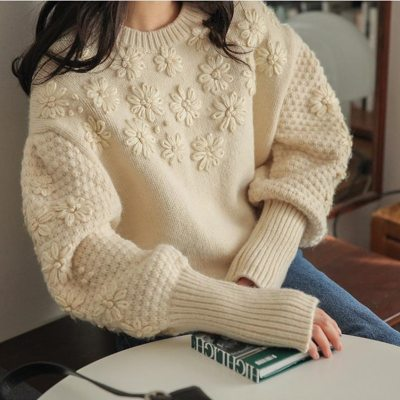 Loose Knit Lantern Sleeve Sweater Women Vintage Thick Soft Embroidery Flower Pullovers