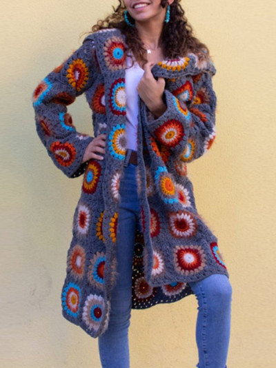 Women Floral Knitted Sweater Full Sleeve  Autumn Winter Casual Vintage Hooded Cardigans