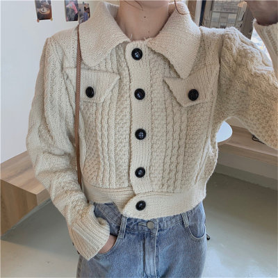All-Match Warm Pockets Lady Retro Chic Cardigans Knitted Short Sweaters