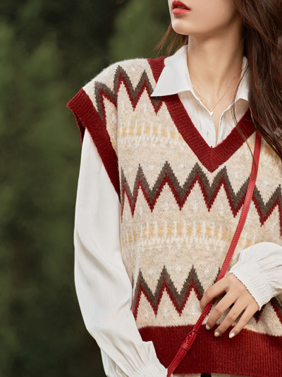 Autumn Sweater Vest For Women Sleeveless Pullover Casual V-Neck Knitwear