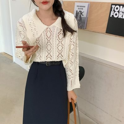 Autumn Pullovers Knitted Sweaters Loose Solid Hollow Retro Turn-down Collar Tops Women