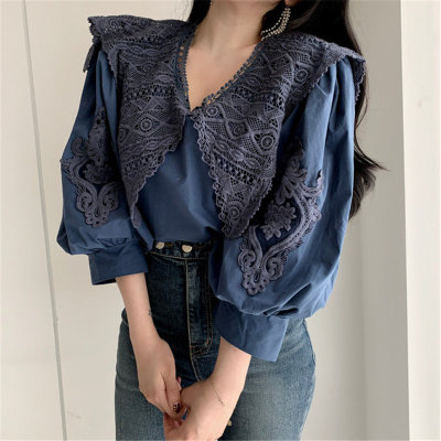Lady Embroidery Lace-Up Puff-Sleeved Simple High Waist Loose Shirts
