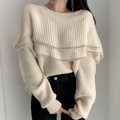 Women Sweater Chic Double-Layer Ruffles Long-Sleeve Knit Elegant Pullovers