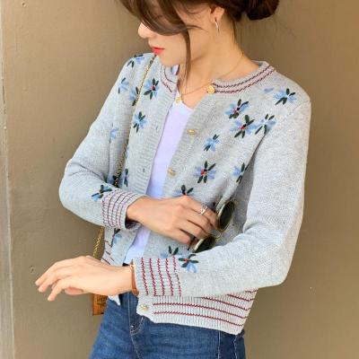 Autumn Floral Embroidery Knitted Sweaters Vintage Knit Cardigan