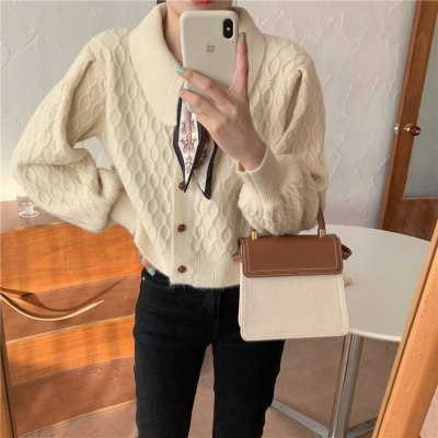 Fashion Lapel Knitted Women Sweaters Coat Autumn Winter