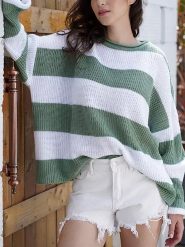 Striped Loose Ladies Sweater Pullover Autumn Winter Green Knit Sweaters