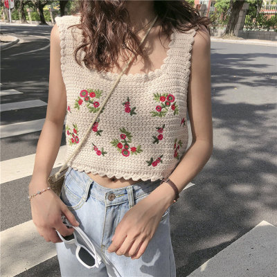 Vintage Embroidery Flowers Basic Sweet Tank Top