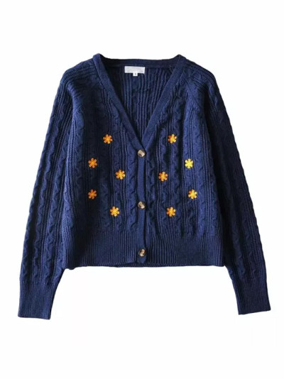 Floral Embroidery Cardigans for Women Autumn Y2K Sweaters Coats Vintage