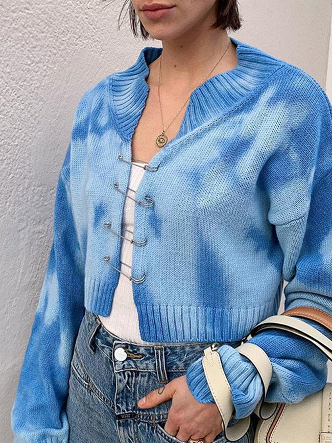 Fashion Woman Sweaters Tie Die Pastel Button Up Knitted Cardigan
