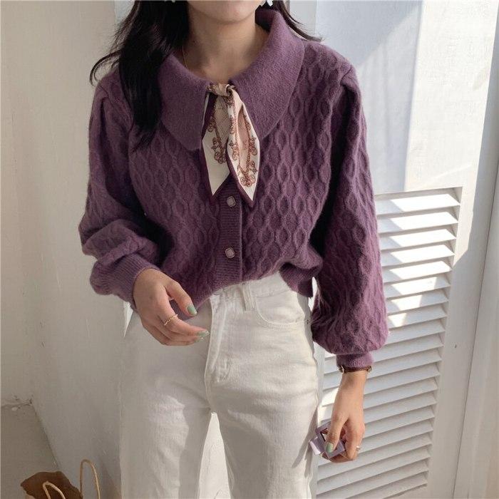 Fashion Lapel Knitted Women Sweaters Coat Autumn Winter