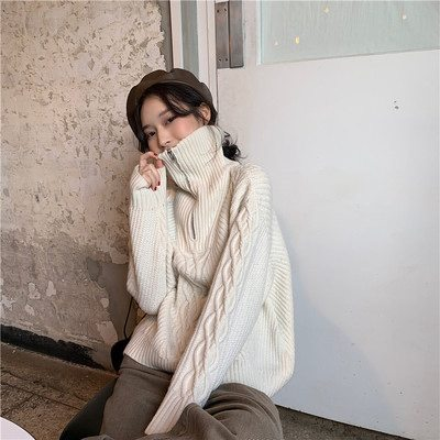 Chic Stand Collar Zipper Up Women Sweaters