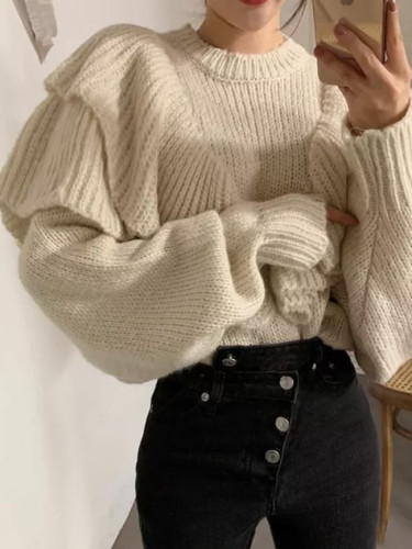 New Spring Loose Sweater Women Solid Knitted Pullovers Winter Warm Sweaters