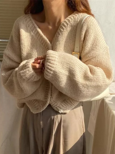 Autumn Winter Sweater Tops Long Sleeve V-Neck Solid Single Breasted Knitted Cardigan