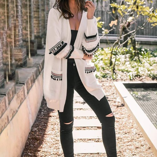 Vintage Cardigan Sweater Women Patchwork Knitted Sweater Coat
