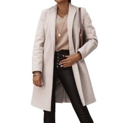 Autumn Winter Classic Long Coat Turn Down Collar Outerwear