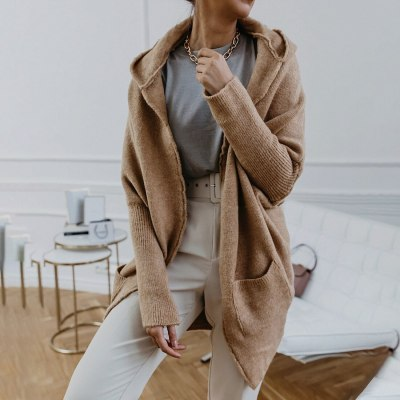 Vintage Hooded Sweatcoat Women Knitted Cardigan Long Loose Sweater