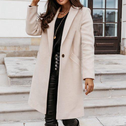 Autumn Women Wool Coat Long Sleeve Fashion Causal Winter Outwear