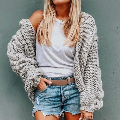 Autumn Women Cardigan Solid Hooded Sweater Loose Knitting Coat