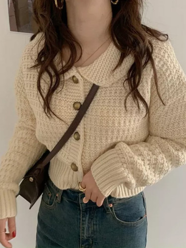 Autumn Knitted Sweaters Collar Cardigan Retro Single-breasted Solid Sweater Coat