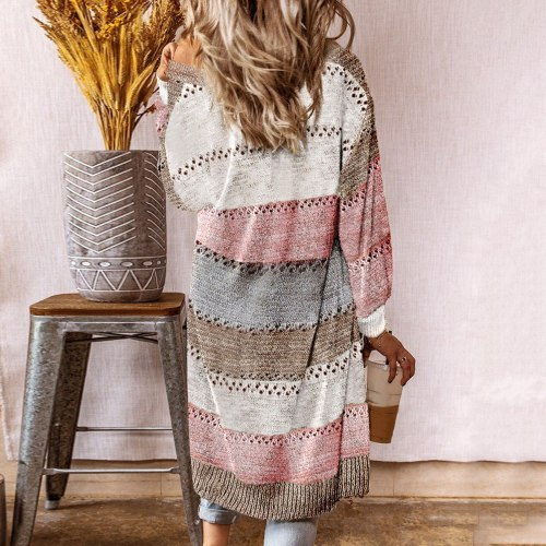 Women Long Sleeve Striped Patchwork Sweater Female Casual Long Cardigan