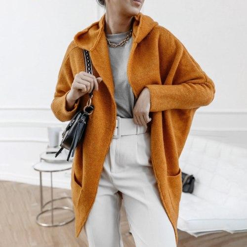 Vintage Hooded Sweatcoat Women Knitted Cardigan Long Loose Sweater