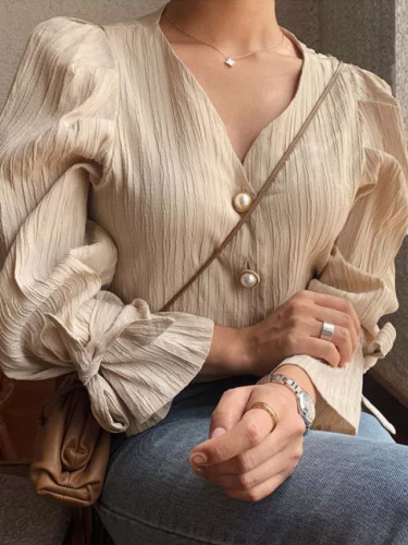 Elegance Casual Sweet Solid Pearls Chic Fresh Loose Vintage Shirts