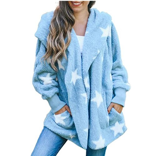 Women's Casual Stars Pockets Oversized Faux Fur-Fuzzy Hooded Outerwear Coat