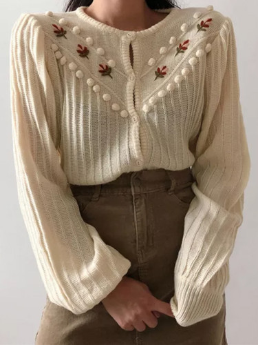 Beige Sweet Gentle Hook Floral Lantern-Sleeved Girls Knitted Cardigans Sweaters