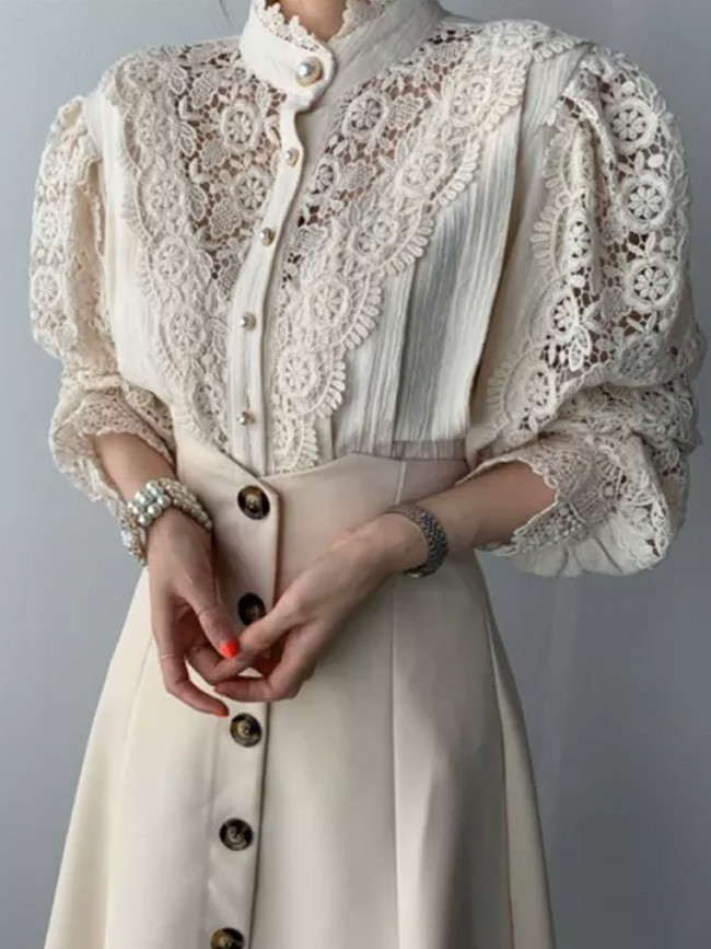 Chic Hollow Out Patchwork Lace Lady Soft Casual Warm All-Match Stylish Blouses